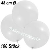 Große Luftballons, 48-51 cm, Weiß, 100 Stück