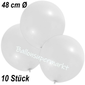 Große Luftballons, 48-51 cm, Weiß, 10 Stück