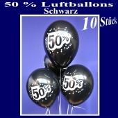 Luftballons 50 prozent, Schwarz, 10 Stück