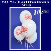 Luftballons 50 prozent, Weiß, 10 Stück