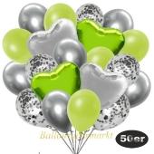 luftballons-50er-pack-14-silber-konfetti-und-15-metallic-apfelgruen-15-chrome-silber-3-folienballons-limonengruen-und-3-folienballons-silber
