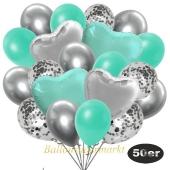 luftballons-50er-pack-14-silber-konfetti-und-15-metallic-aquamarin-15-chrome-silber-3-folienballons-tuerkis-und-3-folienballons-silber