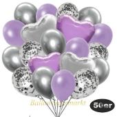 luftballons-50er-pack-14-silber-konfetti-und-15-metallic-lila-15-chrome-silber-3-folienballons-flieder-und-3-folienballons-silber