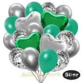 luftballons-50er-pack-14-silber-konfetti-und-15-metallic-tuerkisgruen-15-chrome-silber-3-folienballons-gruen-und-3-folienballons-silber