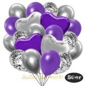 luftballons-50er-pack-14-silber-konfetti-und-15-metallic-violett-15-chrome-silber-3-folienballons-lila-und-3-folienballons-silber