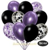 luftballons-50er-pack-8-flieder-7-schwarz-konfetti-und-18-metallic-schwarz-17-chrome-lila