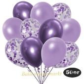 luftballons-50er-pack-15-flieder-konfetti-und-18-metallic-lila-17-chrome-lila