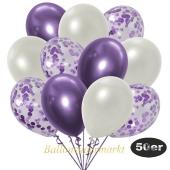 luftballons-50er-pack-15-flieder-konfetti-und-18-metallic-weiss-17-chrome-lila