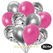 luftballons-50er-pack-15-silber-konfetti-und-18-metallic-pink-17-chrome-silber