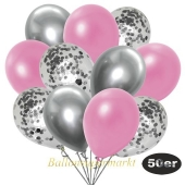 luftballons-50er-pack-15-silber-konfetti-und-18-metallic-rose-17-chrome-silber
