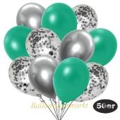 luftballons-50er-pack-15-silber-konfetti-und-18-metallic-tuerkisgruen-17-chrome-silber
