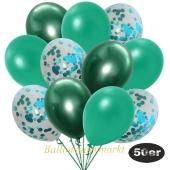 luftballons-50er-pack-15-tuerkis-konfetti-und-18-metallic-tuerkisgruen-17-chrome-gruen