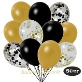 luftballons-50er-pack-8-schwarz-konfetti-7-gold-konfetti-und-18-metallic-schwarz-17-metallic-gold