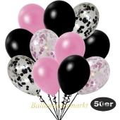 luftballons-50er-pack-8-rosa-konfetti-7-schwarz-konfetti-und-18-metallic-rose-17-metallic-schwarz