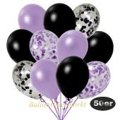 luftballons-50er-pack-8-flieder-konfetti-7-schwarz-konfetti-und-18-metallic-lila-17-metallic-schwarz