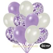 luftballons-50er-pack-15-flieder-konfetti-und-18-metallic-lila-17-metallic-weiss