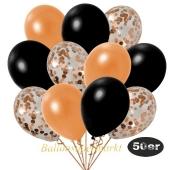 luftballons-50er-pack-15-orange-konfetti-und-18-metallic-schwarz-17-metallic-orange