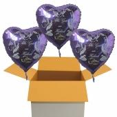 Hochzeitsballons, 3 Luftballons zur Hochzeit, fliederfarbene Herzballons mit Trauringen, Alles Gute zur Hochzeit