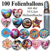 Folienballon-Maxi-Set-1, 100 Luftballons aus Folie mit der 10 Liter Ballongasflasche
