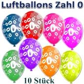 Luftballons Zahl 0 zum Geburtstag, 10 Stück, bunt