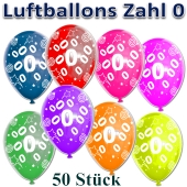 Luftballons Zahl 0 zum Geburtstag, 50 Stück, bunt
