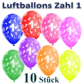 Luftballons Zahl 1 zum 1. Geburtstag, 10 Stück, bunt