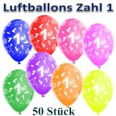 Luftballons Zahl 1 zum 1. Geburtstag, 50 Stück, bunt