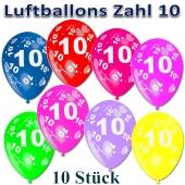 Luftballons Zahl 10 zum 10. Geburtstag, 10 Stück, bunt