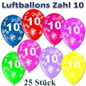 Luftballons Zahl 10 zum 10. Geburtstag, 25 Stück, bunt