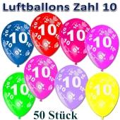 Luftballons Zahl 10 zum 10. Geburtstag, 50 Stück, bunt