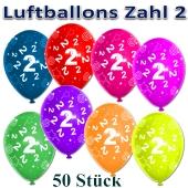 Luftballons Zahl 2 zum 2. Geburtstag, 50 Stück, bunt