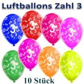 Luftballons Zahl 3 zum 3. Geburtstag, 10 Stück, bunt