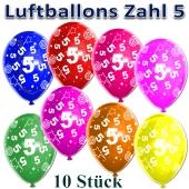 Luftballons Zahl 5 zum 5. Geburtstag, 10 Stück, bunt