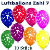 Luftballons Zahl 7 zum 7. Geburtstag, 10 Stück, bunt