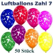 Luftballons Zahl 7 zum 7. Geburtstag, 50 Stück, bunt