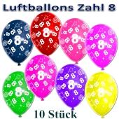 Luftballons Zahl 8 zum 8. Geburtstag, 10 Stück, bunt
