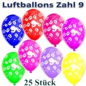Luftballons Zahl 9 zum 9. Geburtstag, 25 Stück, bunt