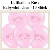 Baby Party Luftballons, Babyschuhe, Rosa