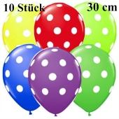 Luftballons Big Dots, bunt sortiert, 30 cm, 10 Stück