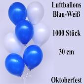 Luftballons Blau-Weiß, 30 cm, Oktoberfest Dekoration, 1000 Stück