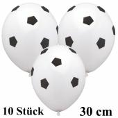 Motiv Luftballons Fußball, weiß, 30 cm, 10 Stück