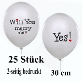 25 Luftballons zum  Heiratsantrag: Will you marry me? Yes!