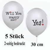 5 Luftballons zum  Heiratsantrag: Will you marry me? Yes!