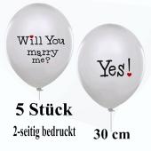 5 Luftballons zum Heiratsantrag: Will you marry me? Yes!