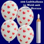 Luftballons Helium Maxi Set, 100 weiße Luftballons mit roten Herzen