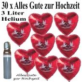 Luftballons Helium Set Hochzeit, 30 Folienballons, Herzen, rot, Alles Gute zur Hochzeit
