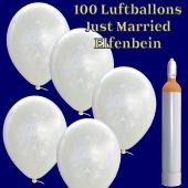 Ballons-Helium-Set-100-Luftballons-Just-Married-Elfenbein-und-10-Liter-Helium-Ballongasflasche-zur-Hochzeit
