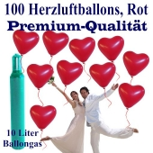 Herzluftballons in Premiumqualität, 100 Stück mit Ballongas-Helium im Set zur Hochzeit