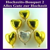 Hochzeits-Bouquet 2, Luftballons aus Folie in Gold mit Ballongas Helium zur Hochzeitsdekoration