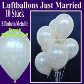 Luftballons Hochzeit, Just Married, Elfenbein-Metallic, 10 Stück
